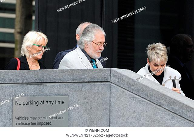 Dave Lee Travis arriving at Southwark Crown Court Court for the verdict in his sex abuse trial Featuring: Dave Lee Travis,Marianne Griffin Where: London