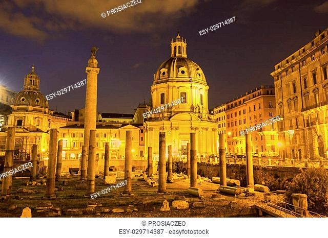 The Church of the Most Holy Name of Mary at the Trajan Forum in Rome, Italy