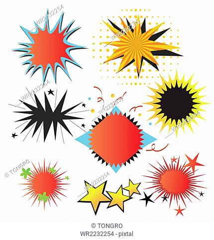 Various exploding speech balloons and stars