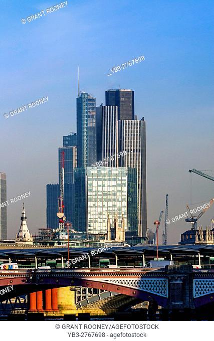 Blackfriars Bridge and The City Of London, London, England