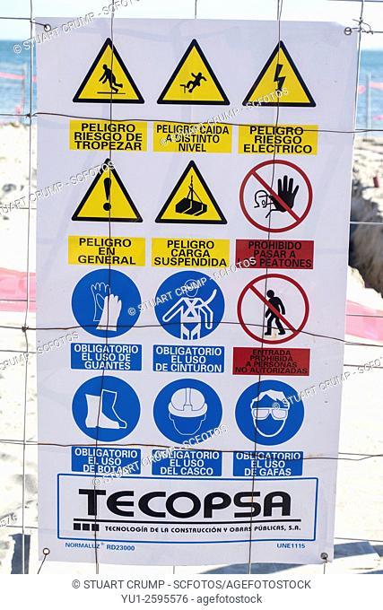 Health and Safety sign on a construction site of a new jetty in to the Mar Menor at Los Alcazares