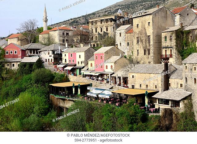 View of Mostar from Old Bridge, Mostar, Bosnia and Herzegovina