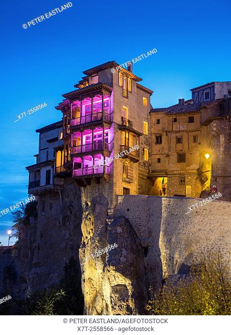 Looking up at the hanging houses at Cuenca, Castilla-la mancha, Central Spain