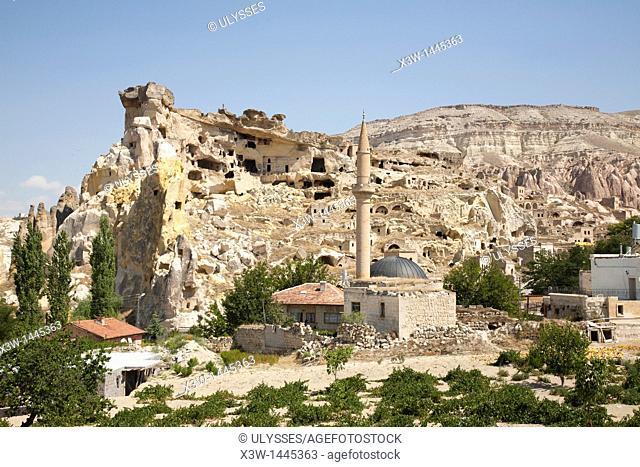 mosque and rock homes, cavusin village, landscape, cappadocia, anatolia, turkey, asia