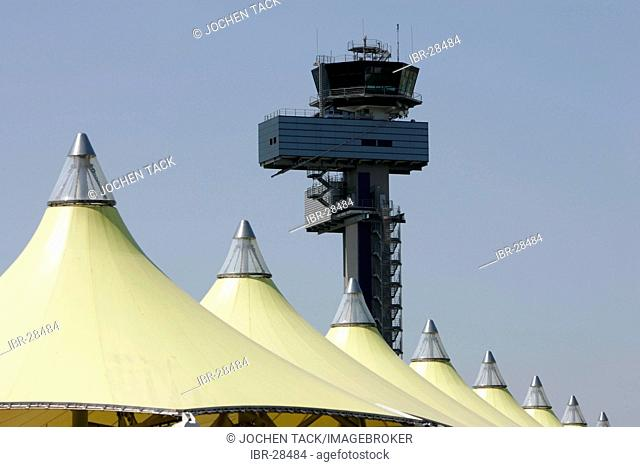 DEU, Germany, Duesseldorf: Tower, air traffic control at the Duesseldorf International Airport