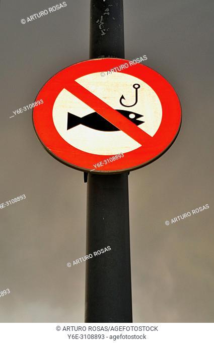 Prohibition sign in Cambrils, Tarragona. Catalonia, Spain