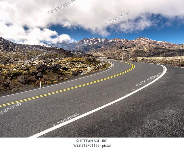 New Zealand, Ruapehu District, Tongariro National Park, Mount Ruapehu, Mount Te Heuheu, road to Whakapapa Skifield