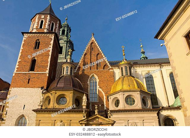 Gold and green domes on Royal Cathedral in Krakow, Poland