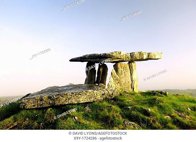 Poulnabrone prehistoric Stone Age dolmen tomb on The Burren limestone plateau near Cliffs of Moher, County Clare, Ireland