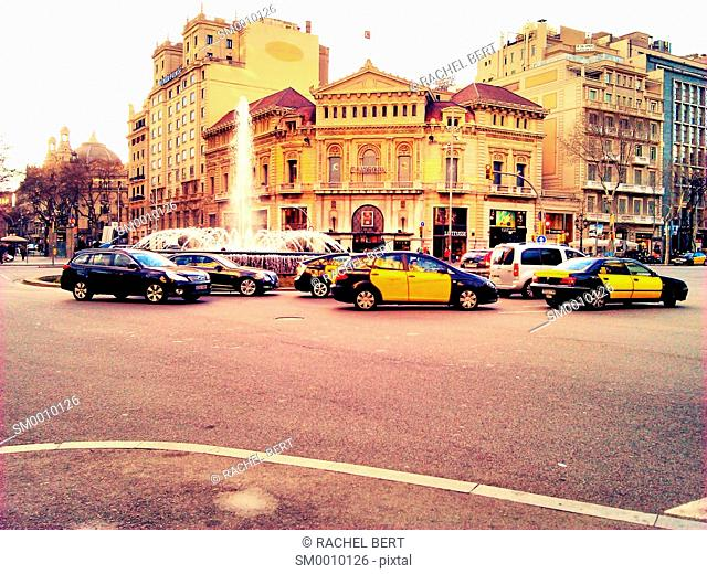 Gran Via intersection with Passeig de Gracia, Barcelona, Catalonia, Spain