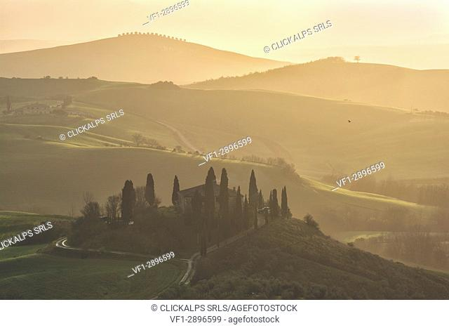 Sunrise in Val d'Orcia, Siena province, Tuscany district, Italy