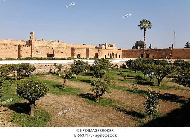 Ruins and gigantic inner courtyard of Palais El Badi, Marrakech, Morocco, Africa