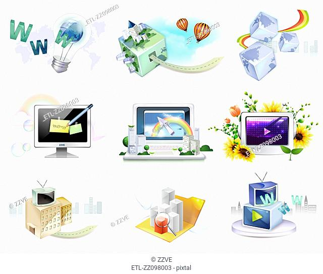 Electronics gadgets and web icon set