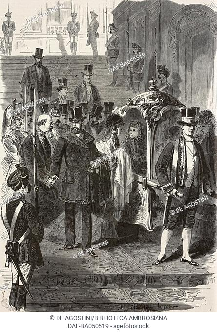 Amedeo I and Maria Vittoria, King and Queen of Spain, leaving the palace in Madrid, Spain, First Spanish Republic, illustration from L'Illustration