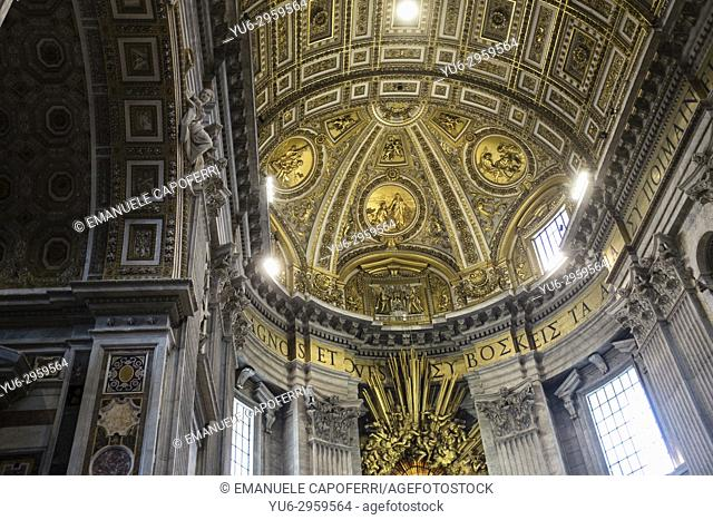 Saint Peter's Basilica, Vatican, Rome, Italy, view of the vault over the chair of Saint Peter inside the basilica