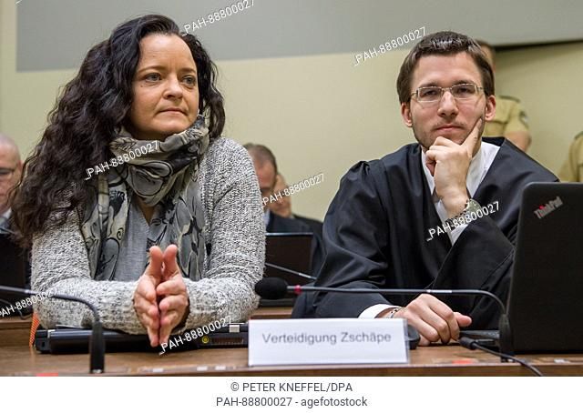 The Accused Beate Zschape Sits Next To Her Lawyer Mathias Grasel In The Court Room In The Higher Regional Court In Munich Germany  The