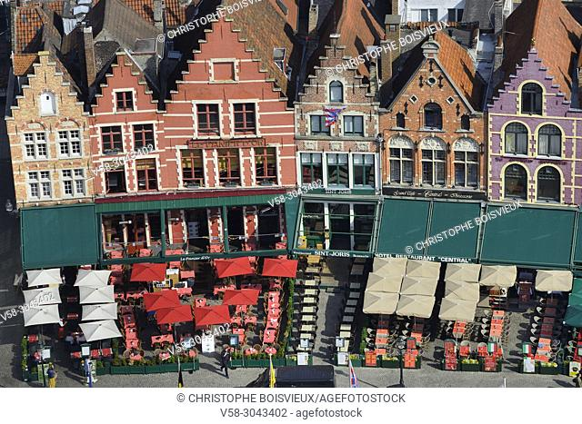 Belgium, Bruges, World Heritage Site, Markt square, Traditional flemish houses and restaurants
