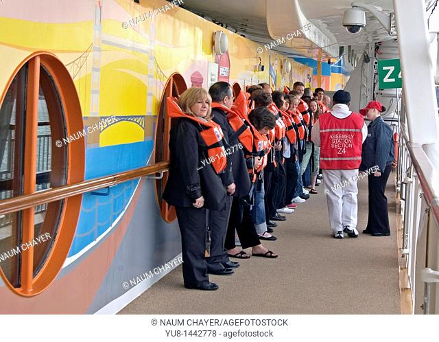 Mandatory guest boat drill for new passengers of Norwegian Dawn Cruise Ship, Western Caribbean