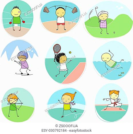 set of naive illustration of children playing different individual sports