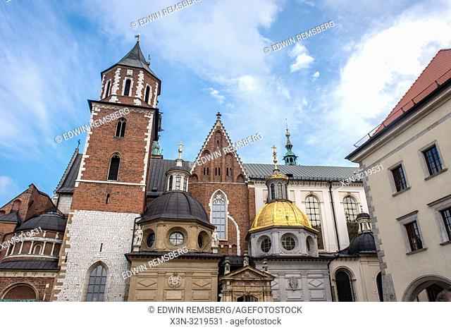 Some of the many domes and spires of Wawel Royal Castle, Krak—w, Lesser Poland Voivodeship, Poland