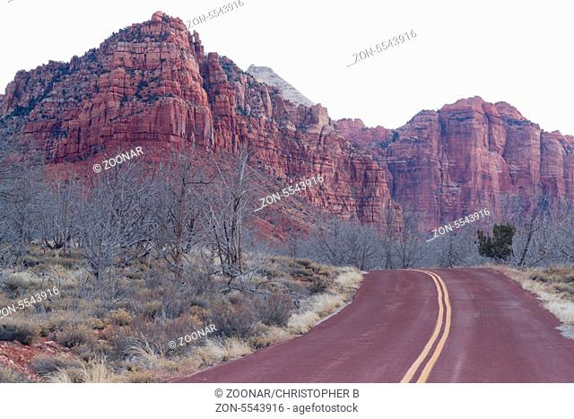Beautiful overlook down on the road back into Zion National Park