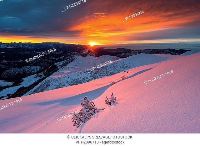 Sunrise from Mount Guglielmo, Brescia prealpi, Brescia province, Italy, Lombardy district, Europe