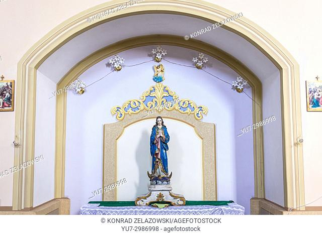 Statue in Catholic Church of Assumption of Blessed Virgin Mary in Yagelnitsa (Polish: Jagielnica) village in Chortkiv Raion, western Ukraine