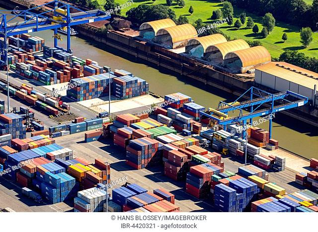 Container terminal, container port, Logport I, Rhine, Duisburg, Ruhr district, North Rhine-Westphalia, Germany