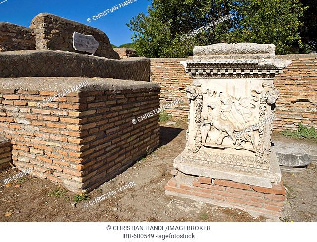 Altar ruins near the amphitheatre at the Ostia Antica archaeological site, Rome, Italy, Europe