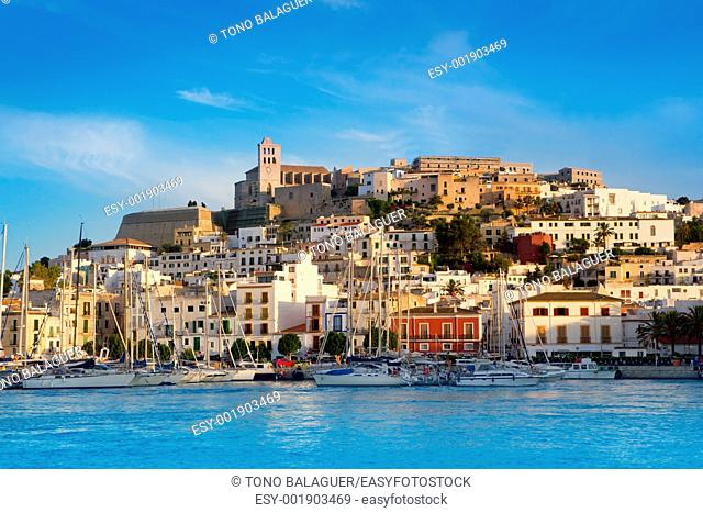 Ibiza Eivissa town with blue Mediterranean sea city view