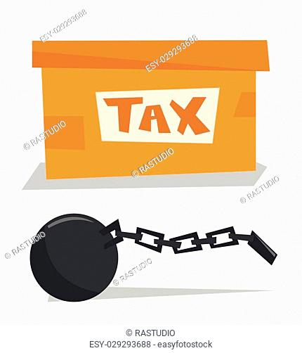Cardboard box for taxes and chain with ball vector flat design illustration isolated on white background