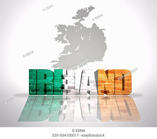Word Ireland with National Flag near map of Ireland