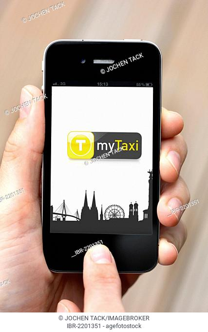 Iphone, smartphone, app on the screen, MyTaxi