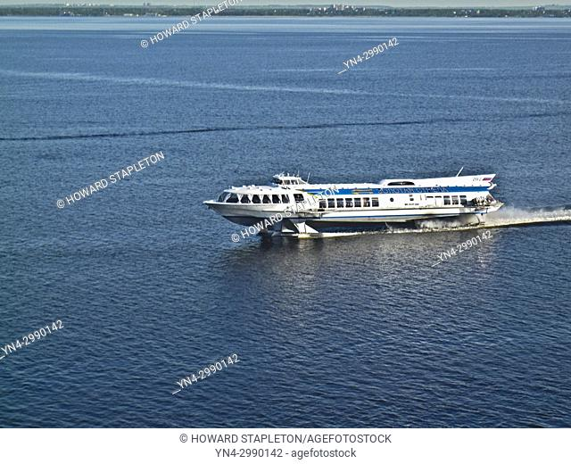Hydrofoil boat in Neva Bay at St. Petersburg, Russia. Hydrofoils can be used to visit Peterhof the Summer Palace located on the Gulf of Finland