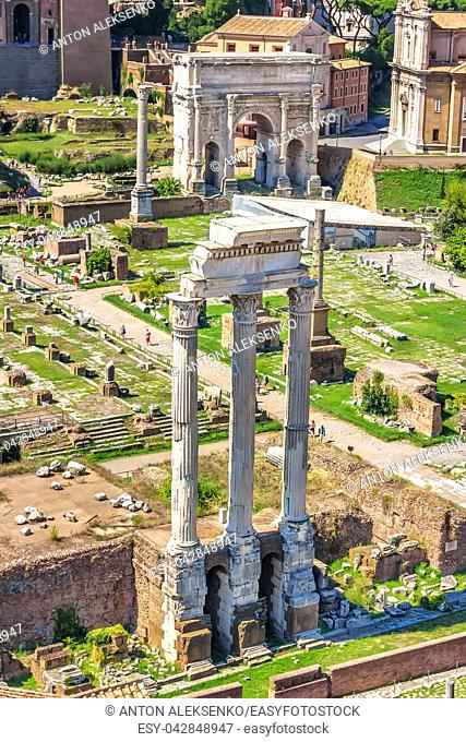 View on the the Temple of Castor and Pollux and the Arch of Septimius Severus in Roman Forum