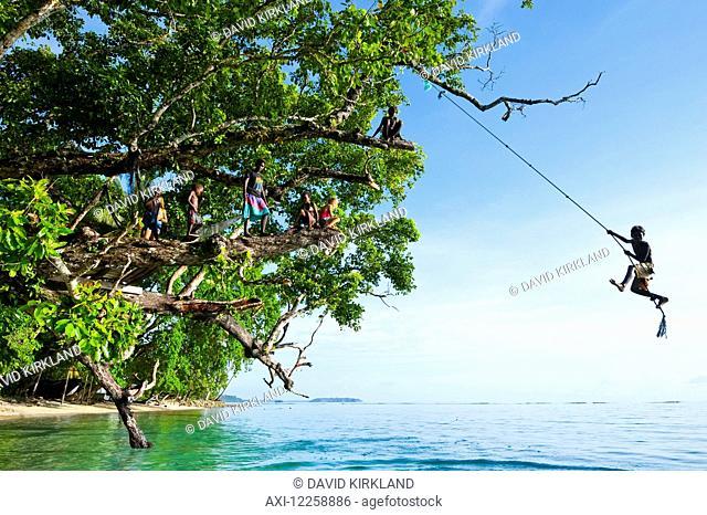 Solomon Island boy swinging from a rope; Gizo, Western Province, Solomon Islands