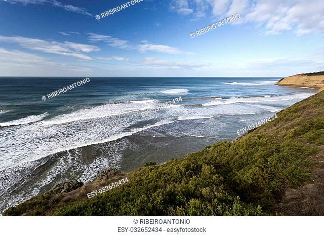 Bird Rock Beach on the Great Ocean Road, Australia, is a surf beach near the world famous Bells Beach