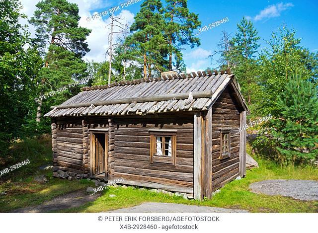 Karjamaja, wooden residential cottage, from 1820s, Seurasaari, outdoor museum island, Helsinki, Finland