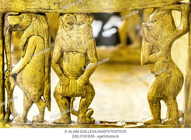 Egypt, Cairo, Egyptian Museum, from the tomb of Yuya and Thuya in Luxor : Wooden chair, plastered and gilded, the sides depict thin sculptures of gods Bes and...