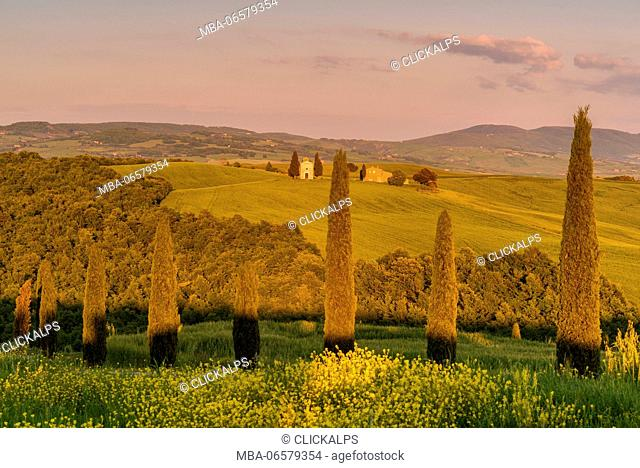 Europe, Italy, Chapel of Vitaleta at sunset, province of Siena, Tuscany