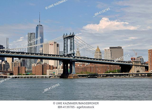 Manhattan Bridge and Freedom Tower, One World Trade Center, Manhattan, New York City, New York, USA