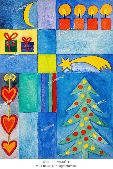 Watercolour of Heidrun Füssenhäuser, Christmas symbols, Christmas tree, star, candles, presents and little hearts
