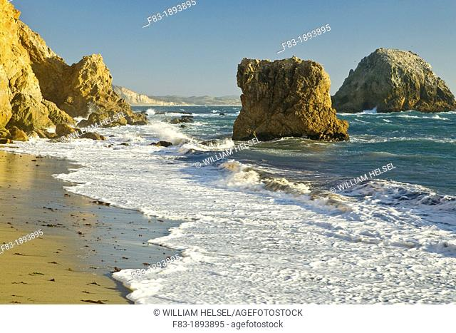 McClure's Beach, Point Reyes National Seashore, Marin County, California, USA, beach, surf, rocky cliffs and sea stacks, late afternoon