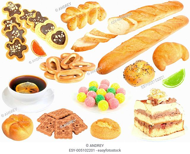Set of fresh bread and sweets