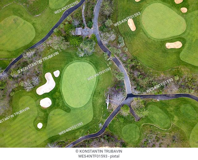 Indonesia, Bali, Aerial view of golf course