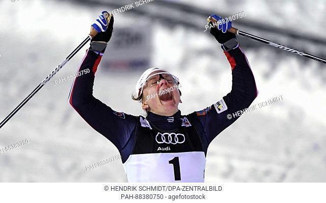 Norwegian athlete Maiken Caspersen Falla celebrates after competing at the 2017 Nordic World Ski Championships in Lahti, Finland, 23 February 2017