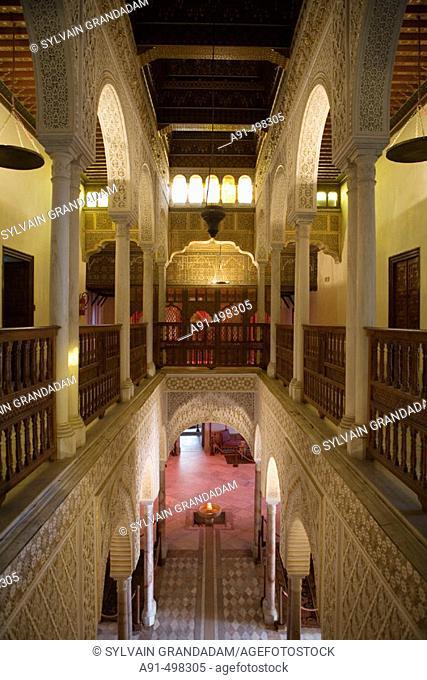 The Baron Erlanger palace built 1912-1922 in oriental style. Village of Sidi Bou Said near Tunis. Tunisia