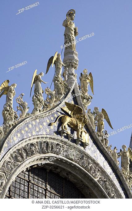 Venice, Veneto, Italy: St Marks basilica detail at Saint Marks square