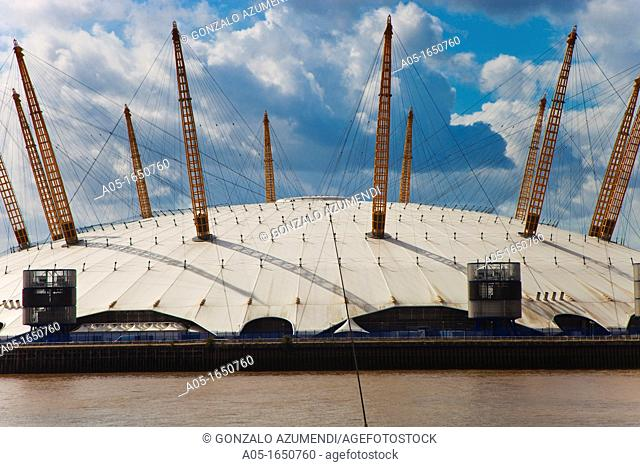 View of O2 Arena Millenium Dome from Trinity Buoy Wharf, London,England,United Kingdom