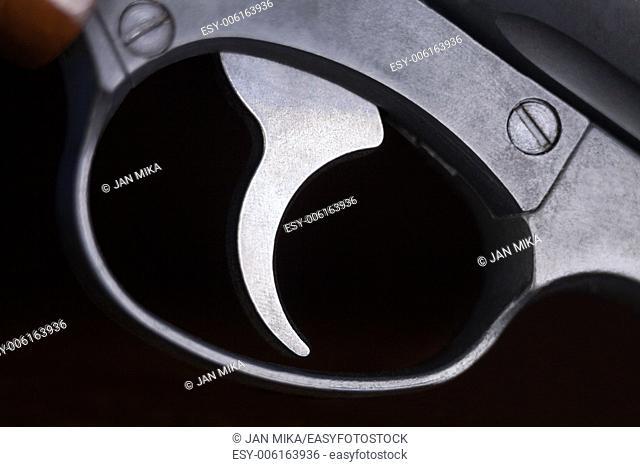 Macro of revolver gun trigger